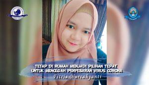 Read more about the article TETAP DI RUMAH MENJADI PILIHAN TEPAT UNTUK MENCEGAH PENYEBARAN VIRUS CORONA – Fitria Nurcahyanti